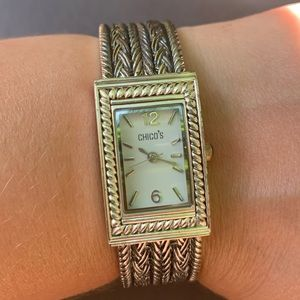 Chico's Silver Tone Watch Bracelet Hinged Braided Metal Band